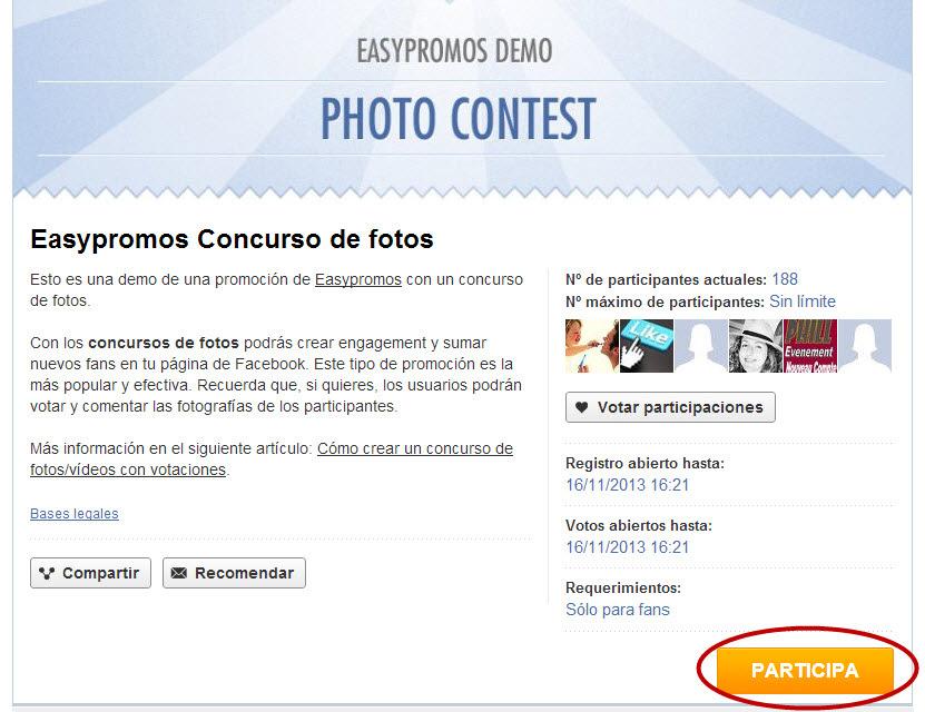 Easypromos - Participar concurso de fotos