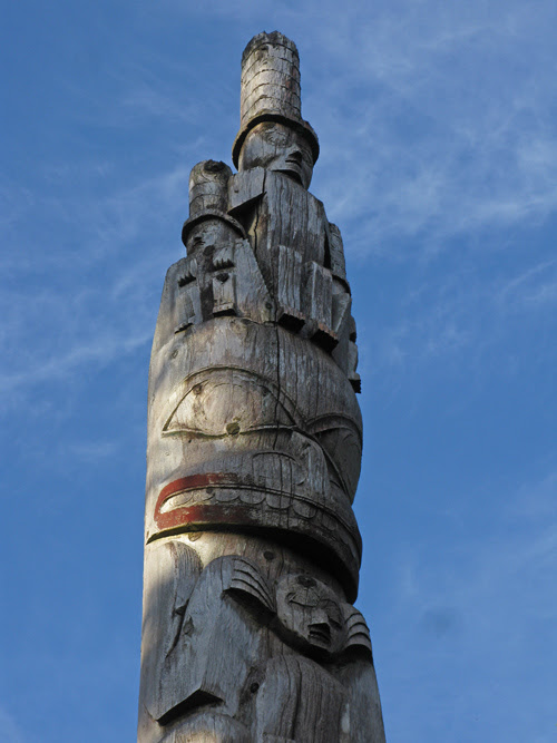 top of the totem standing in front of Chief Son-i-Hat's Whale House, Kasaan Totem Park, Kasaan, Alaska