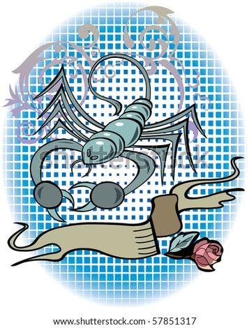 stock vector : Scorpio zodiac sign in tattoo style