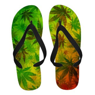Marijuana Cannabis Leaves Pattern Flip_Flops Sandals