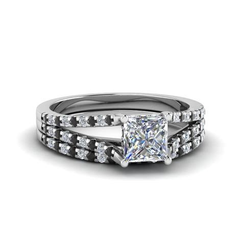 Princess Cut Split Thin Band Wedding Ring Set With Black
