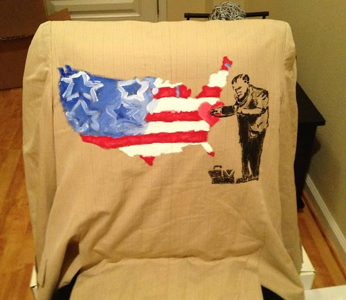 """""""Banksy Heals Max"""" a jacket painted and worn by Chris Chan"""