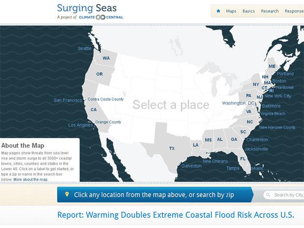 No site do relatório é possível pesquisar por estado, cidade e CEP as áreas que podem ser alagadas com o aumento do nível do mar. (Foto: Reprodução / Surging Seas)