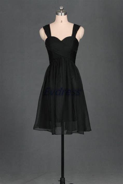 2016 Short Black Chiffon Sweetheart Bridesmaid Dress,cheap