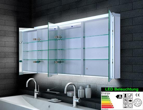 led badspiegel mit schrank 140x70 cm kaltweiss 3türig