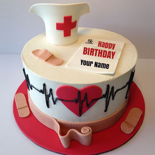 Doctor Birthday Wishes Cake With Your Name