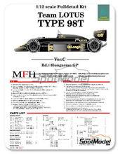 Maqueta de coche 1/12 Model Factory Hiro - Lotus Renault 98T John Player Special - Nº 11, 12 - Gran Premio de Hungria 1986 - kit Multimaterial