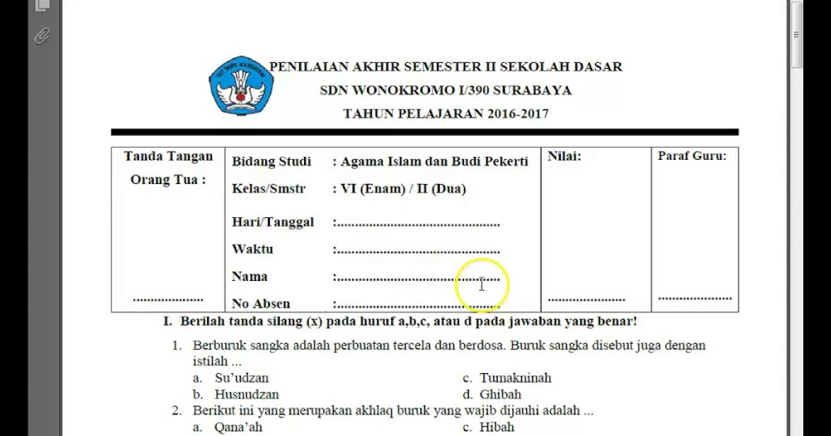Kunci Jawaban Pendidikan Agama Islam Dan Budi Pekerti Kelas 6