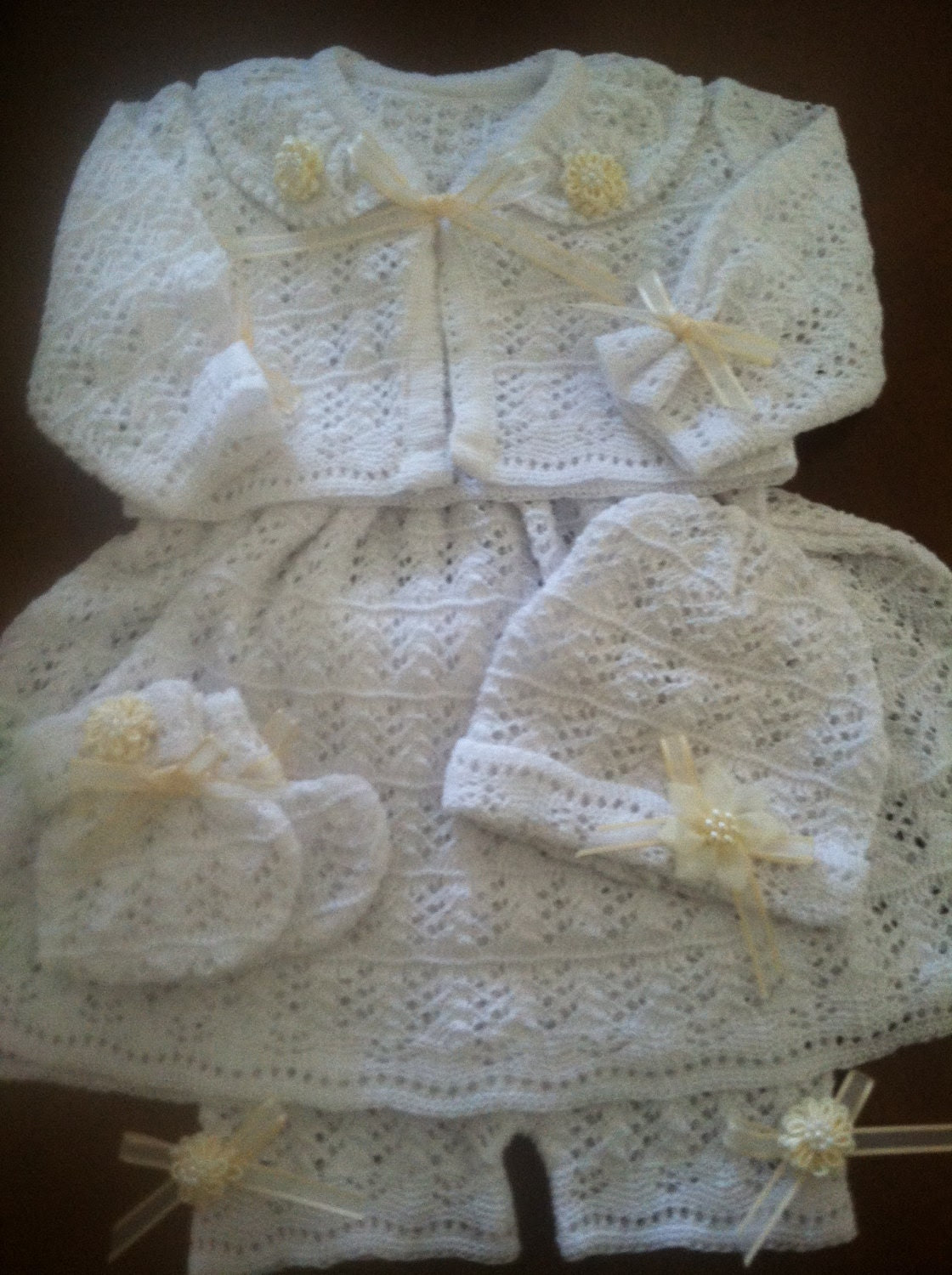 Baby Girl Dress 5 Pcs Outfit Set perfect for Baptism Christening newborn gift or Easter