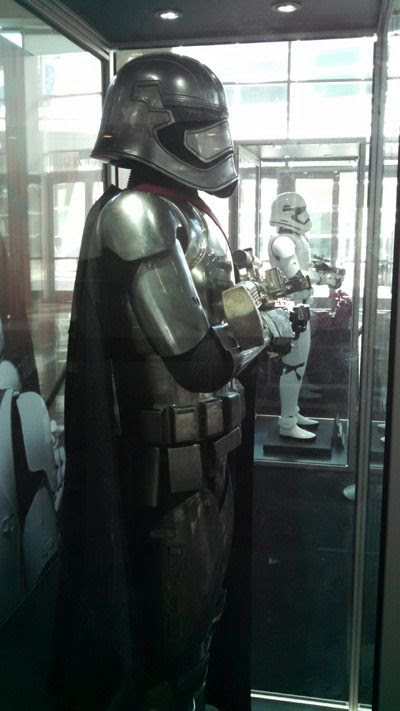 Captain Phasma's armor and the First Order Stormtrooper suit from STAR WARS: THE FORCE AWAKENS...on display at ArcLight Cinemas in Hollywood.