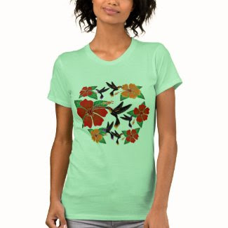 Hummingbird and Hibiscus Batik Tee Shirt