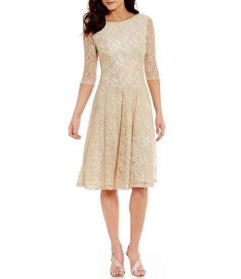 Sangria Tea Length Midi Lace Fit and Flare Dress   Dillards