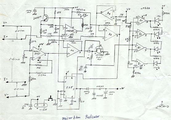 schematics of delabs  microohm meter with led analog bar