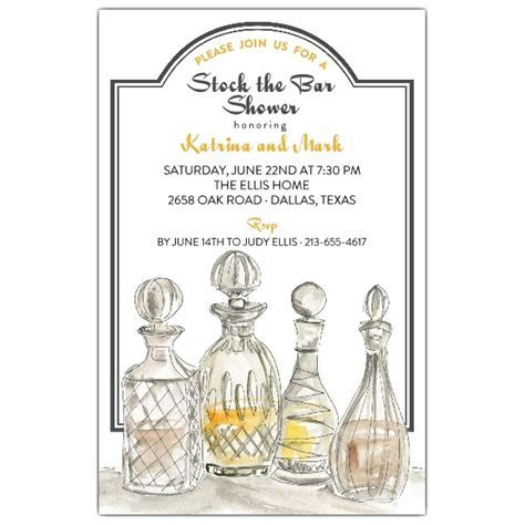 Fancy Decanter Stock The Bar Shower Invitations   PaperStyle