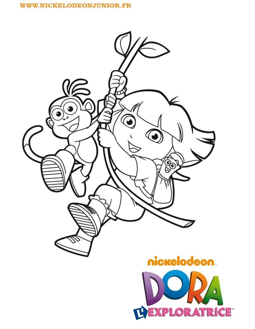 Coloriage de Dora imitant Tarzan