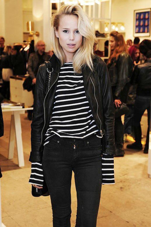 Le Fashion Blog Elin Kling Leather Moto Jacket Long Sleeve Striped Stripe Shirt Mix Skinny Faded Black Jeans Chain Strap Bag Blonde Hair Side Part Sweddish Blogger and Editor Styleby Magazine Downtown Cool Style photo Le-Fashion-Blog-Elin-Kling-Leather-Moto-Jacket-Stripe-Shirt.jpg