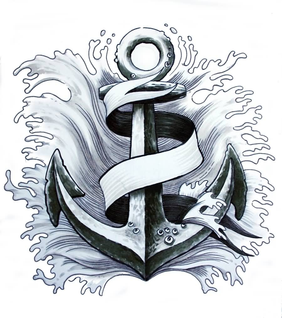 Ribbon Banner And Anchor Tattoo Design