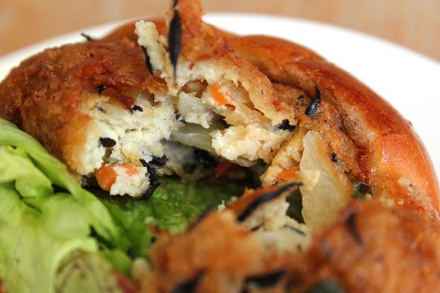 Vegetarian Tofu Croquette Burger innards