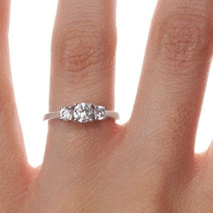 18K White Gold Petite Three Stone Trellis Diamond Ring (1