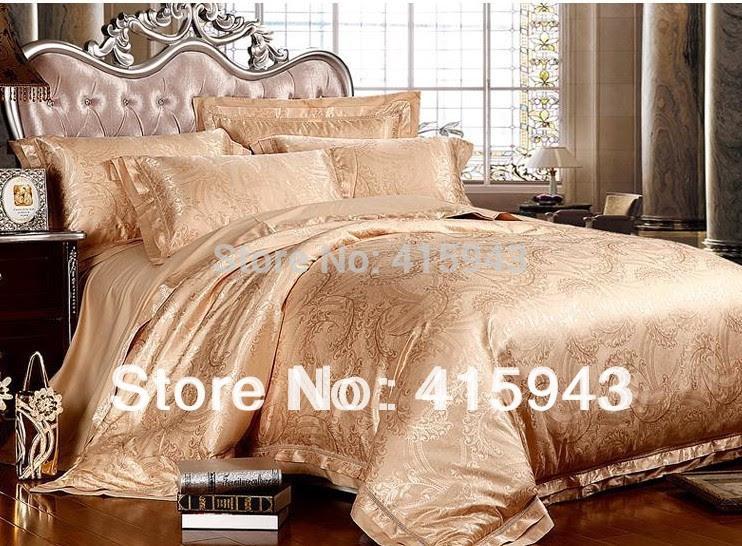 luxury bed comforters set/romantic comforter set/6 pcs silk ...