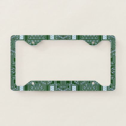 Funny Geeky Nerd Computer Circuit Board Pattern License Plate Frame