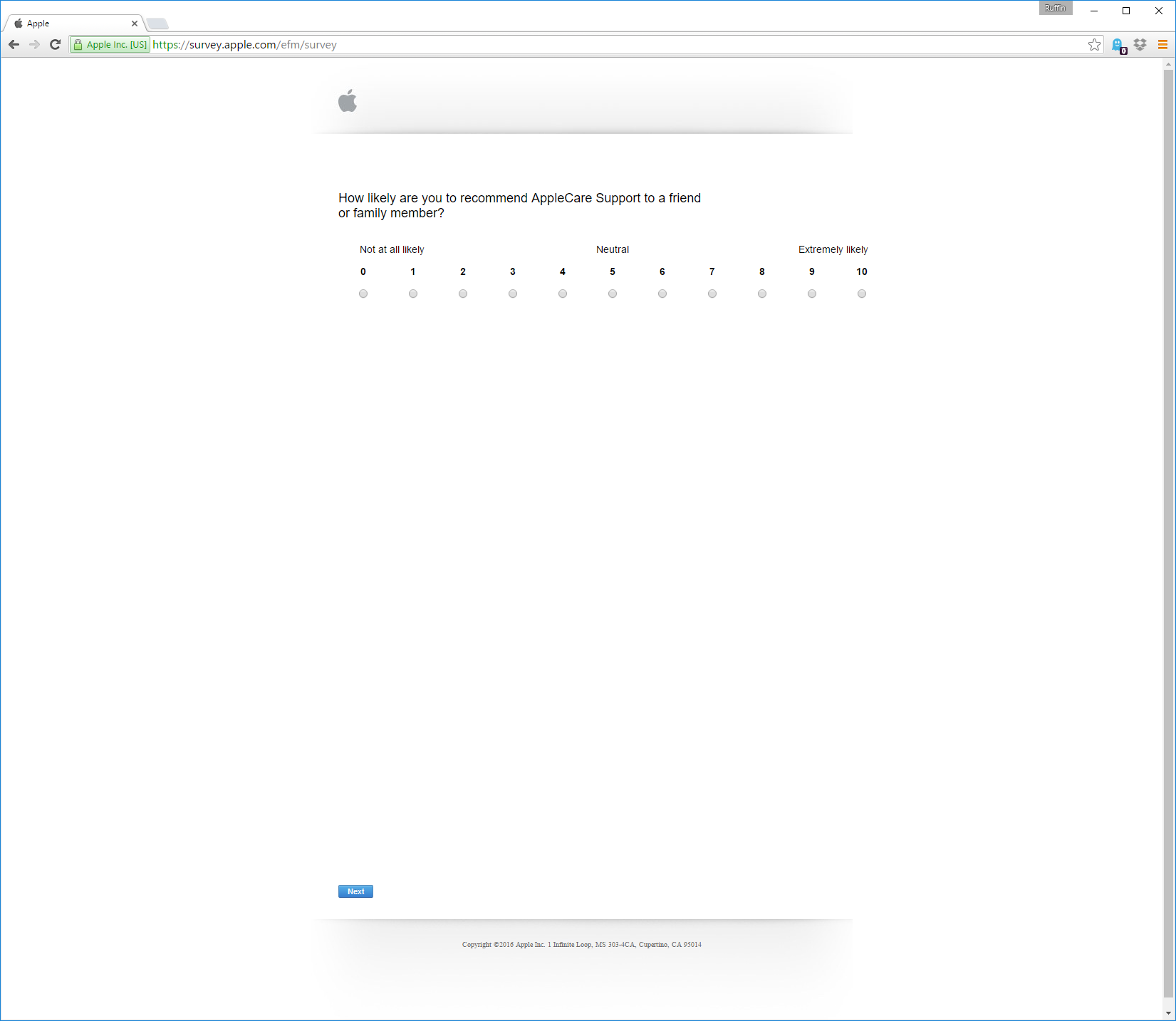apple survey spacing is exceptionally spread out