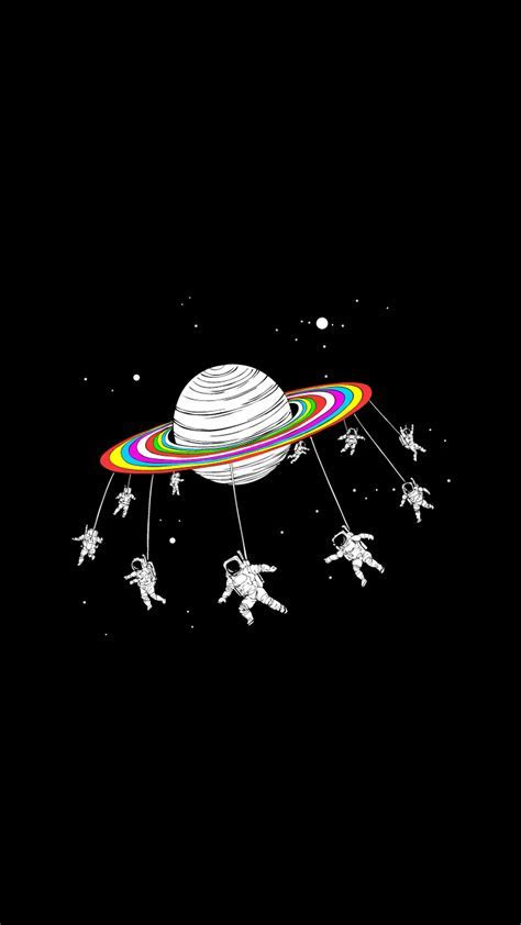 Astronauts Merry Go Round Planet Space iPhone 6  HD
