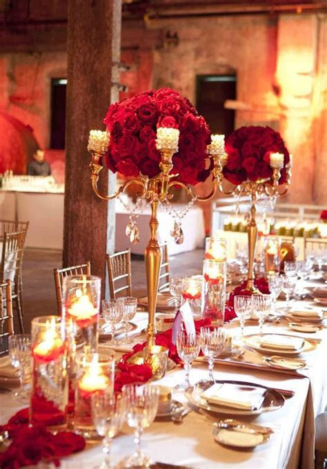 Stylish Red and Gold Wedding Reception Tablescapes