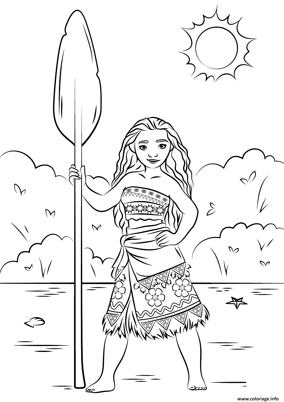 Coloriage Princesse Vaiana Moana Disney Dessin  Imprimer