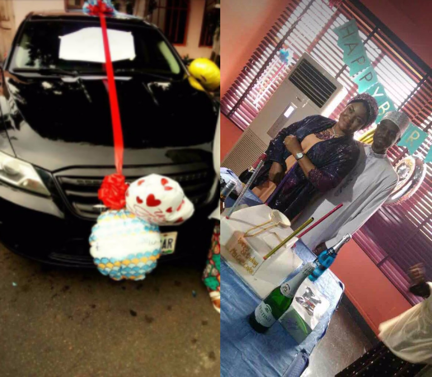 Photos: Nigerian woman gifts her husband a car on his 49th birthday