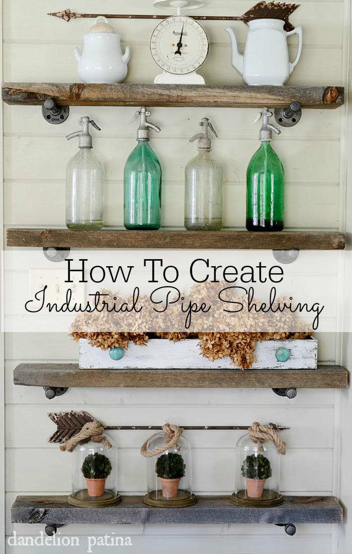 How to create industrial pipe shelving the easy way via dandelionpatina.com