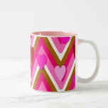 Pink Hearts And Cheverons Two-Tone Coffee Mug