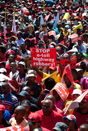 COSATU led a protest march to Parliament in Cape Town as part of organised marches around the country on Wednesday, March 7, 2012. Discontent is growing among the workers in South Africa. by Pan-African News Wire File Photos