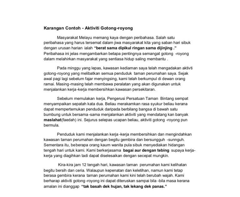 Contoh Karangan Surat Rasmi Gotong Royong Klewer Y