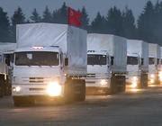 La colonna di camion russi con gli aiuti umanitari (Ap)