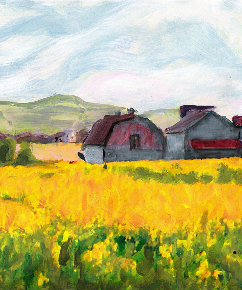 Original Fine Art Digital Springtime Fields Farm Maryland (detail). $18 to $24, medium-size prints. Free downloads, wallpaper. An original mixed media and oil painting, a landscape, yellow, near Frederick, Maryland, in a style somewhat reminiscent of Van Gogh, some years ago, in the 1970s. ‬‎GrlFineArt. Fine art work, fine art decor, ‪‎fineart; landscapes, seascapes, boats, figures, nudes, figurative art, flowers, still life, digital abstracts. Multimedia classical traditional modern acrylic oil ‪‎painting‬ ‪‎painting‬s prints.