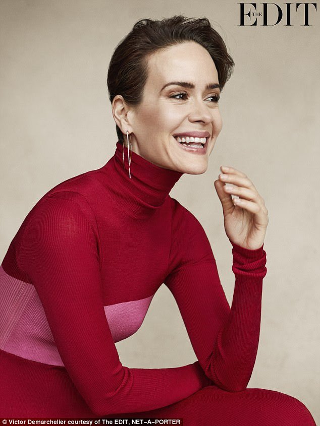 Glamorous lady: Sarah Paulson is featured in the latest edition ofNET-A-PORTER's The EDIT