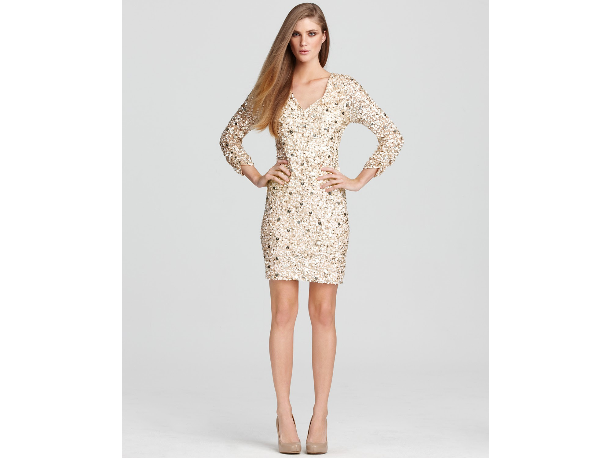aidan mattox light gold dress sequin mini dress product 1 3430717 421618617