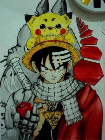 princesabananahammock:  El personaje de anime definitivo Si no me equivoco es una mezcla de Dragon Ball Z, One Piece, Naruto, Fairy Tail, Soul Eater, Pokémon, Gintama, Bleach, Fullmetal Alchemist, Deadman Wonderland, Death Note, Totoro..  Lolaso
