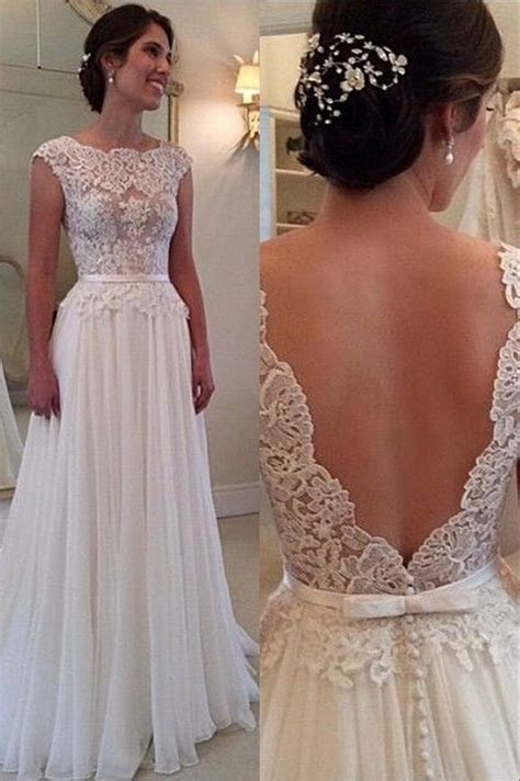 Lace Chiffon Backless A line Wedding Dresses Capped