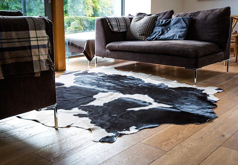West Kerry Cowhide Rug Black White Irish Hide Designs