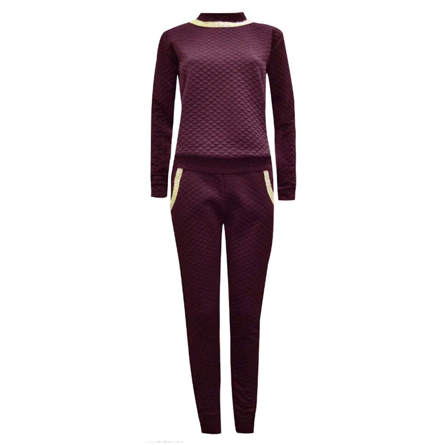 new ladies diamante jogging loungewear womens tracksuit