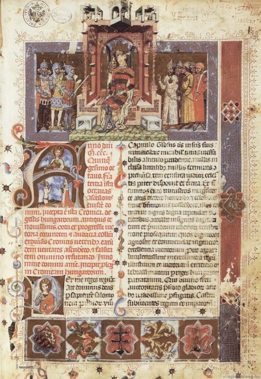 Prima pagină din Chronicon pictum Vindobonense