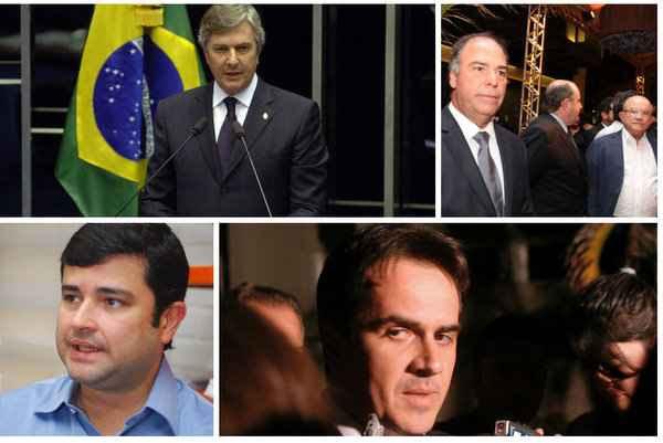 (Apreensões de documentos da Lava-Jato atingiram nesta terça-feira quatro lideranças políticas, como Fernando Collor (PTB), Fernando Bezerra Coelho (PSB), Eduardo da Fonte (PP) e Ciro Nogueira (PP). Nas fotos, estão da esquerda para a direita)