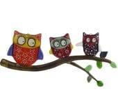 Fused Glass Owl Family Suncatcher, Wall Art. - venusartglass
