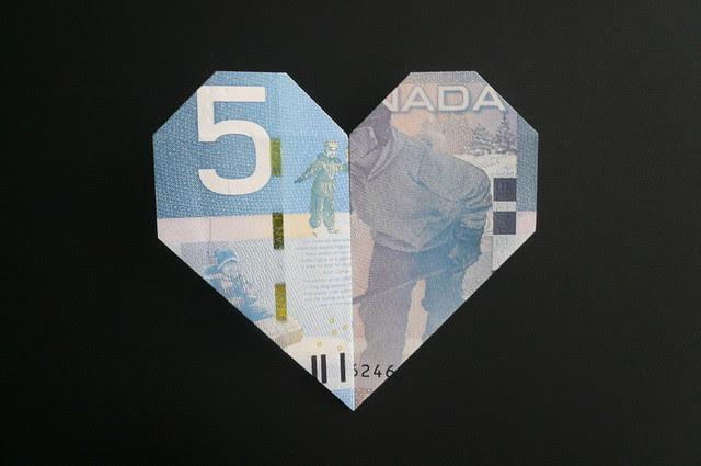 Dollar Origami Heart Locket