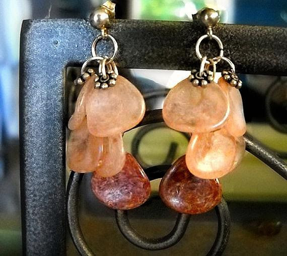Czech Glass Earrings with Rose Petal shaped by ALCustomJewelry, $31.49