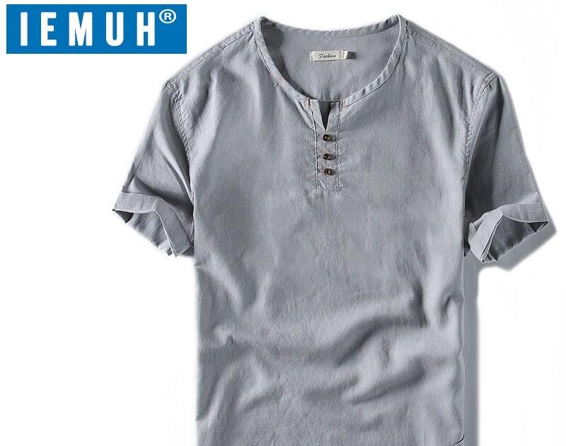 bed5b6998 Comprar Camiseta De Manga Corta Algodón Lino Para Hombre IEMUH Camisetas  Moda Cortas Sueltas Delgadas Estilo Chino Online Baratos