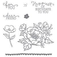 Birthday Blooms Wood-Mount Stamp Set