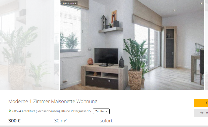 doreen blau 1 zimmer maisonette wohnung 60594. Black Bedroom Furniture Sets. Home Design Ideas
